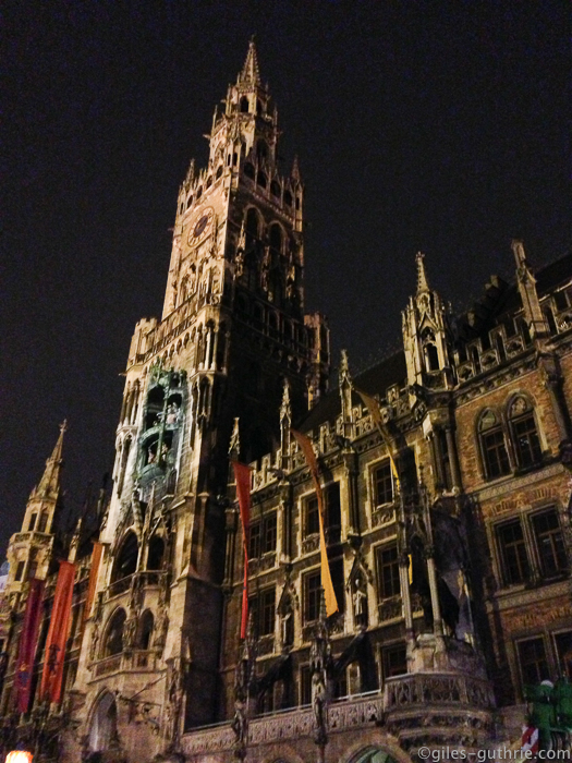 Munich's New Town Hall at night